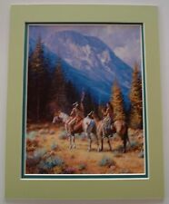 Intruders by Martin Grelle Native American Western Horses Mat Fits 11x14 Frame