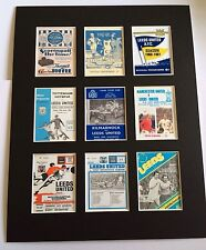 """LEEDS UNITED FC RETRO POSTERS 14"""" BY 11"""" PICTURE MOUNTED READY TO FRAME"""