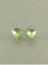 15mm Peridot Green Swarovski Crystal Elements Stud Earrings