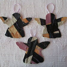 AB18 Prim Ornaments Upcycled from Modern Cutter Quilt Remnant Angels Purple