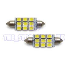 2x Sostituzione 9 LED 42mm INTERNO LAMPADA LUCE BIANCO GHIACCIO LAMPADINE (da41-5050-9b)