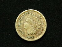 MARKED DOWN!!  XF 1863 INDIAN HEAD CENT PENNY w/ FULL LIBERTY & DIAMONDS 227v