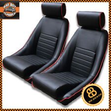 Pair BB1 RS Classic Black / Red Piping Bucket Seats With Headrests + Runners