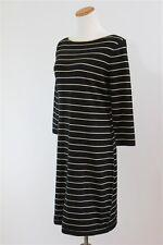 Chaps by Ralph Lauren Gold Black Lurex Striped Sweater Dress Boatneck S L NWT