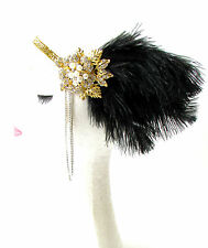 Black Gold Silver Feather Headpiece 1920s Flapper Headband Ostrich Vintage 1802