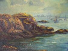 """ROCKY SEA COAST""  SMALL OIL PAINTING ON CANVAS NEW ENGLAND COAST CA 1980"