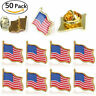 "LOT OF 50 AMERICAN FLAG LAPEL PINS 0.5"" United States USA Hat Tie Tack Badge Pin"