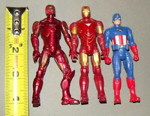 "1:18 Marvel  Iron Man  Captain America Mark II Movie Series Action Figure 4"" set"