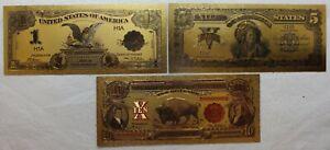 1899 $1 Black Eagle $5 Chief 1901  $10 LT Bison Novelty Gold Foil Notes LG609