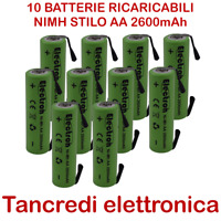 10x BATTERIA RICARICABILE STILO NIMH AA 1,2V 2600mAh 14x50mm LAMELLE TABS 2600mA