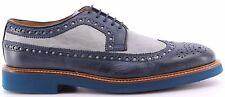 Para hombres zapatos clásicos La Martina L3025206 Opus Azul Opus Perla Cuero Italia Nuevo