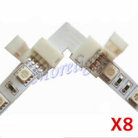 8x L-Shape 90-Degree LED Strip 5050 10mm RGB 4 Pin PCB Coupler Connector Adapter
