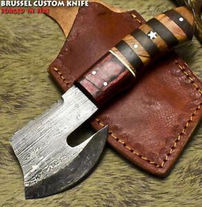 Brussel Rear Handmade Damascus Steel Walnut Wood Art Hunting Skinner Knife