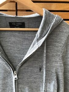 Men's All Saints Grey Merino Wool Zip Up Hoodie Cardigan - Small - Hardly Worn