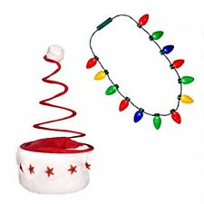 LED Christmas Bulb Necklace and Santa Spring Hat Combo Ugly Christmas Sweater