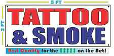 TATTOO & SMOKE Banner Sign NEW 2X5