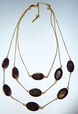 KENNETH COLE - 3-STRAND BRONZE FACETED GLASS OVAL BEAD & GOLDTONE NECKLACE