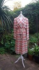 AQUASCUTUM VINTAGE COAT heritage check wool 70's 80's 40's red cream M L tartan