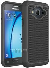 Fits Samsung Galaxy J3 J3(6) Case Shockproof Rugged Rubber Impact Cover  - Black