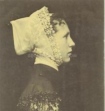 RPPC: Winsome YOUNG Breton WOMAN in LACE MOURNING COSTUME Trescalan, FRANCE 1903