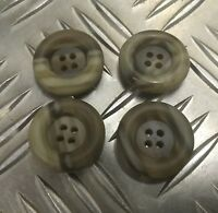 Genuine Vintage Military Issue 4 Hole Plastic Coat Buttons Mottled X4 25mm