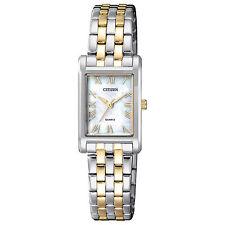 New Citizen Women's MOP Two Tone Stainless Steel Rectangular Watch EJ6124-53D
