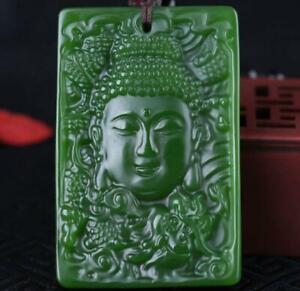 Natural jade Green Amulet statue jewelry jade Pendant Jasper  Bodhisattva