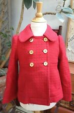 JUICY COUTURE Wool Military PEA Coat Jacket BRASS BUTTONS Girl TOMATO RED 4 $350