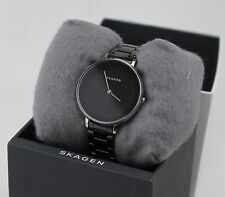 NEW AUTHENTIC SKAGEN DITTE BLACK SILVER GREY CERAMIC WOMEN'S SKW2303 WATCH