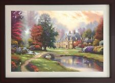 Mansions in Paradise  by Thomas Kinkade (Framed River Landscape Colorful House)