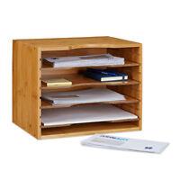 Briefablage Bambus Organizer, Ablagesystem Büro,Schreibtisch-Organizer 5 Fächer