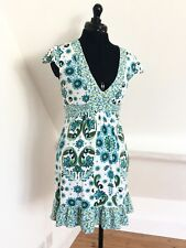 Pretty White/Blue Floral Retro Print Stretch Jersey Dress. Dorothy Perkins. Sz 8