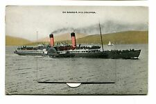 Vintage Postcard CLYDE PADDLE STEAMER Ship RMS COLUMBA Novely Pull Out Card
