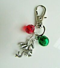 Welsh Rugby Dragon Handmade Collar Charm Clip with a crystal Bead and a Bell