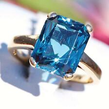 10k yellow gold 3.00ct London blue topaz solitaire size 4 ring vintage 2.9gr