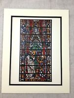 Medieval Stained Glass Panel York Minster Architecture Antique Colour Print