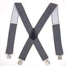 Men X-Back Elastic Suspenders Leather Braces Adjustable Clip-on Shirt Belt Strap