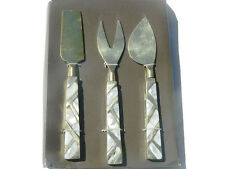 Nate Berkus Cheese Knives Set of 3 Mother of Pearl Brass Gold New