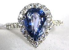 Blue Sapphire Ring Halo Diamond 14K White gold 2.55ct CERTIFIED Ap $5,335