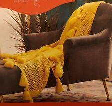 Opalhouse Tassel Trim yellow crochet throw blanket-50″ x 60″-NWT