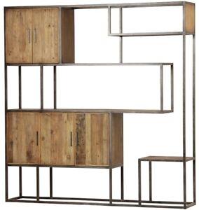 "83"" T Elga Wall Unit Bookcase Steel Frame Reclaimed Burnt Oak and Elm Woods"