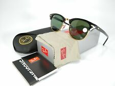 Ray Ban Clubmaster RB3016 W0365 Black/Gold w/Green G-15 49mm Lens