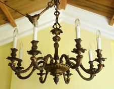 Vintage brass French Rococo chandelier Baroque ceiling light Grand heavy quality