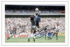 Diego Armando Maradona & Peter Shilton mano de Dios MEXICO'86 Firmado Foto impresión