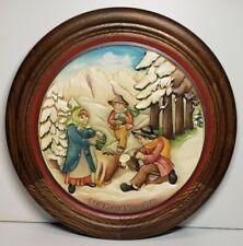 "Anri 1979 Wood Carved Christmas Plate ""Moss Gatherers of Villnoess"""
