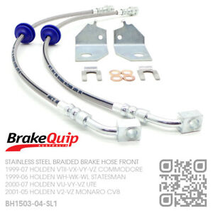 BQ BRAIDED STAINLESS FRONT BRAKE HOSES [HOLDEN WH-WK-WL STATESMAN/CAPRICE] S