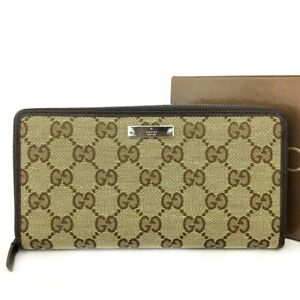 GUCCI GG Logo Canvas Leather Zippy Around Long Wallet / /C0290