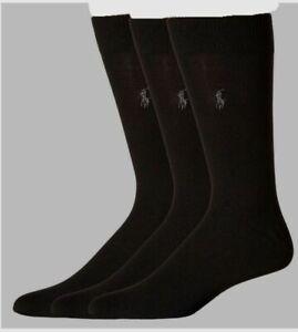 $79 Polo Ralph Lauren Mens 3 Pair Pack Black Soft Crew Dress Socks Shoe 6-12