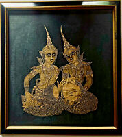 Vintage Mid Century Thai Asian Framed Temple Rubbing Serigraph Silk Screen