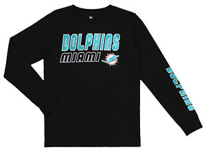 Outerstuff NFL Youth (4-18) Miami Dolphins Long Sleeve T-Shirt, Black